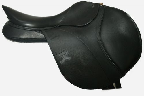 18 Inch DMK Show Jumping Saddle With Dual Flap Forward In Black
